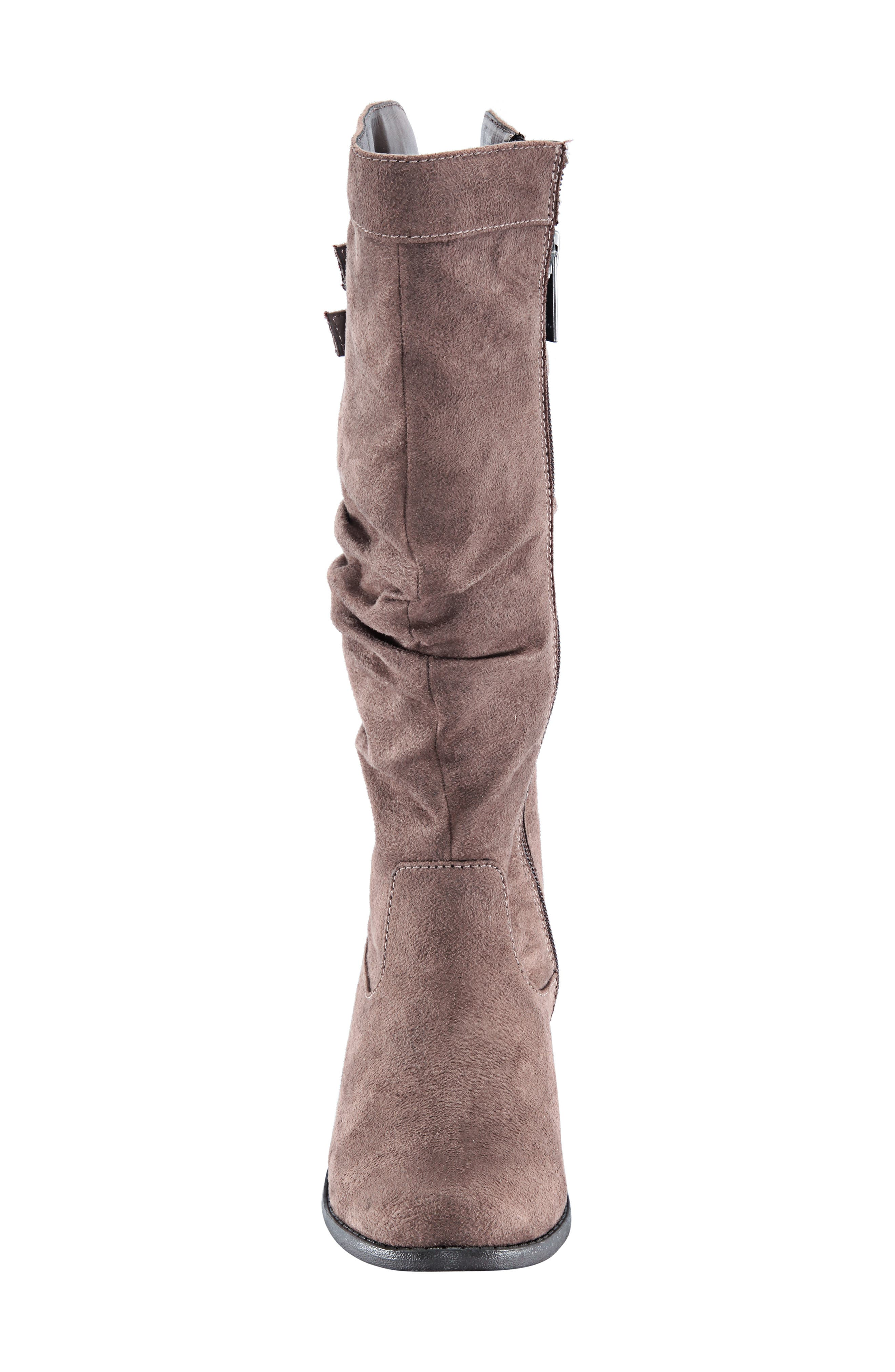 Gilda Tall Slouchy Boot,                             Alternate thumbnail 3, color,                             Taupe Burnished Micro Suede