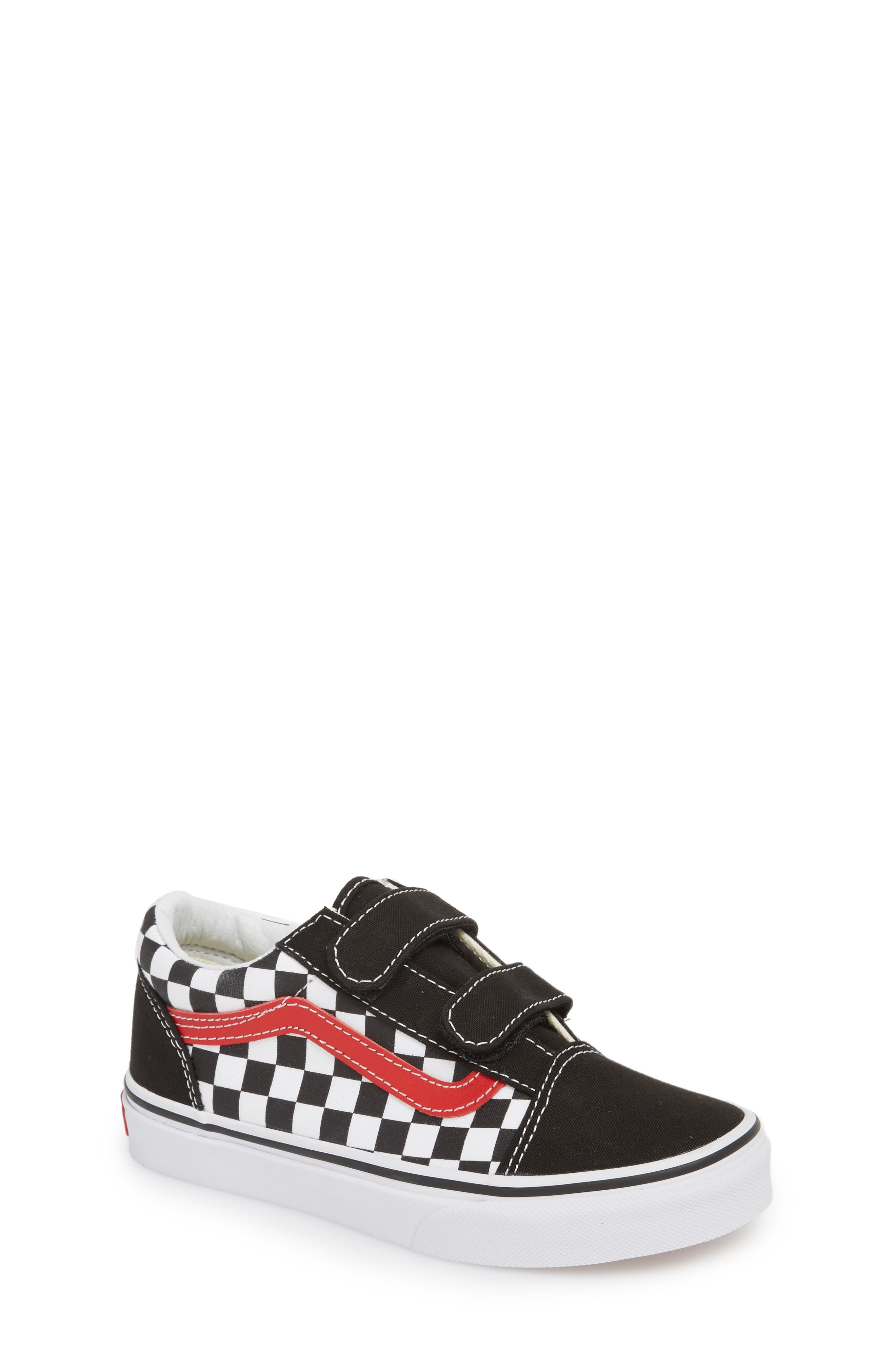 Old Skool V Sneaker,                             Main thumbnail 1, color,                             Checkerboard Black/ Red/ White