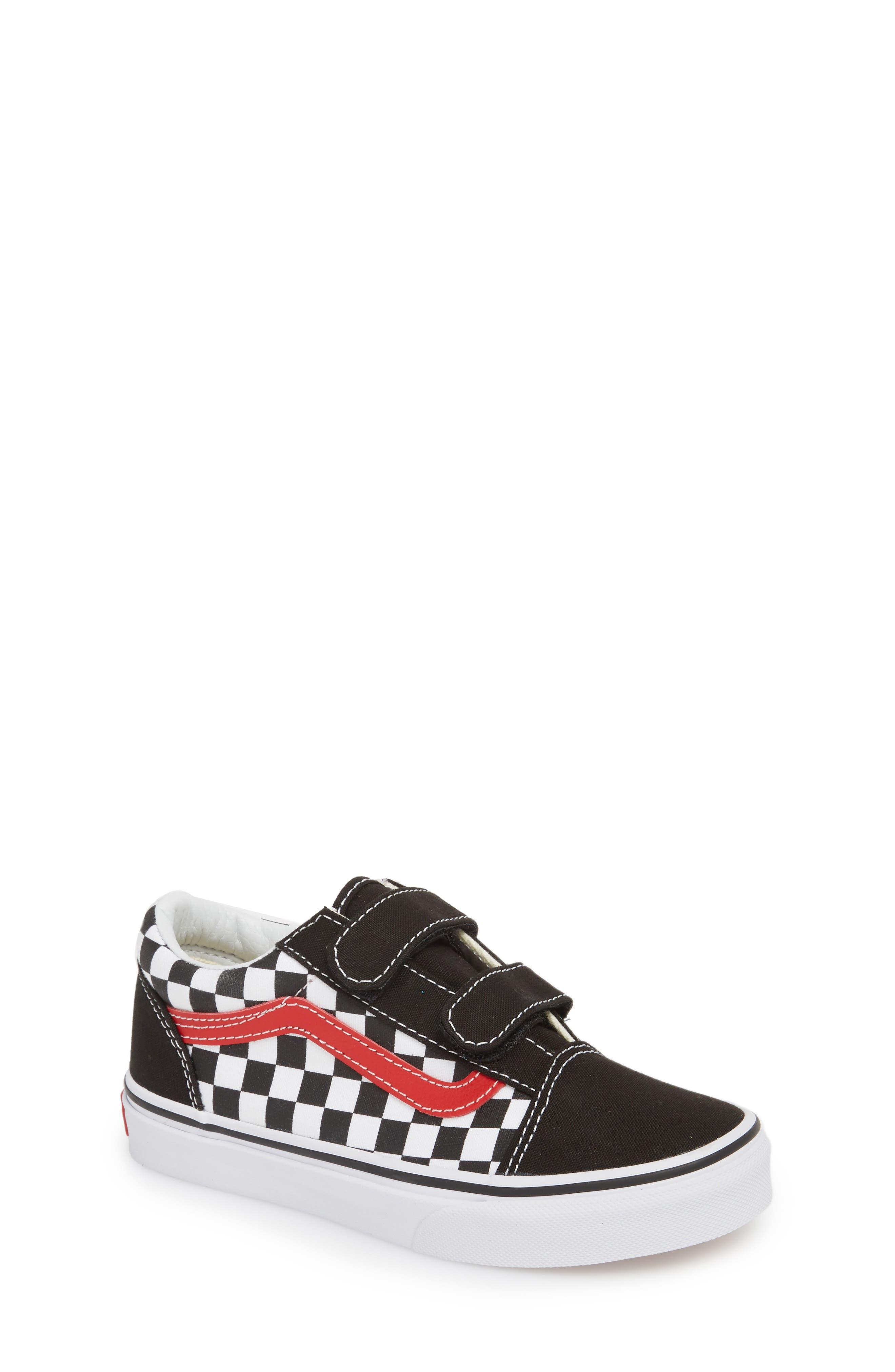 Old Skool V Sneaker,                         Main,                         color, Checkerboard Black/ Red/ White