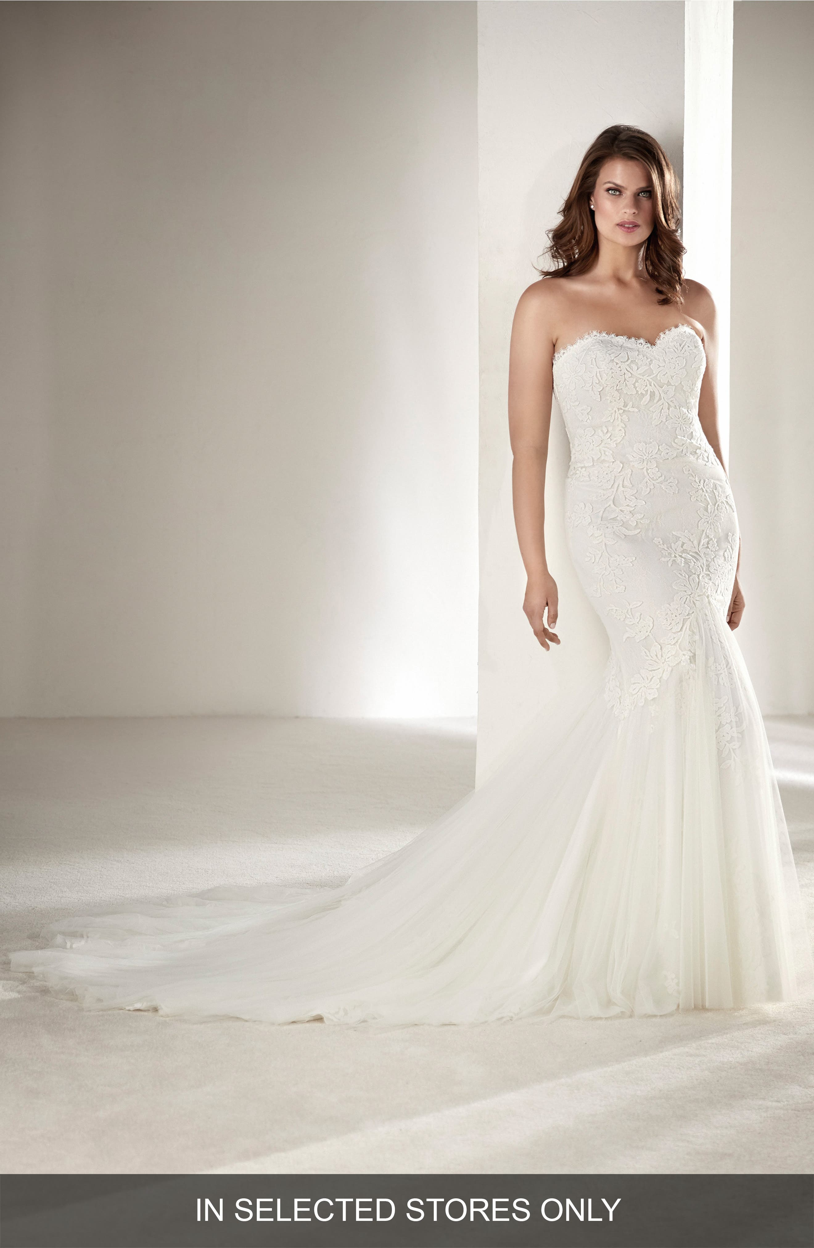 Drimea Strapless Mermaid Gown with Tulle Cape,                             Main thumbnail 1, color,                             Off White
