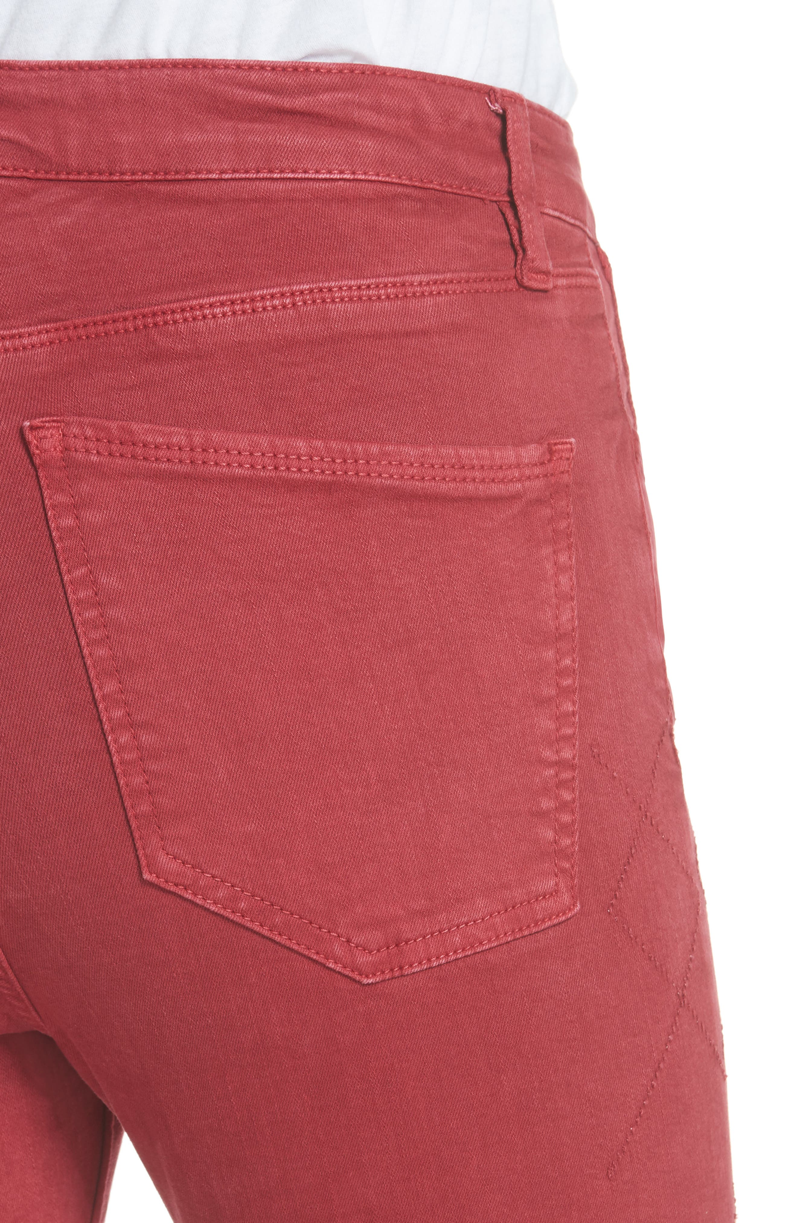 Rolling Old Reina Lattice Stitch Skinny Jeans,                             Alternate thumbnail 4, color,                             Framboise