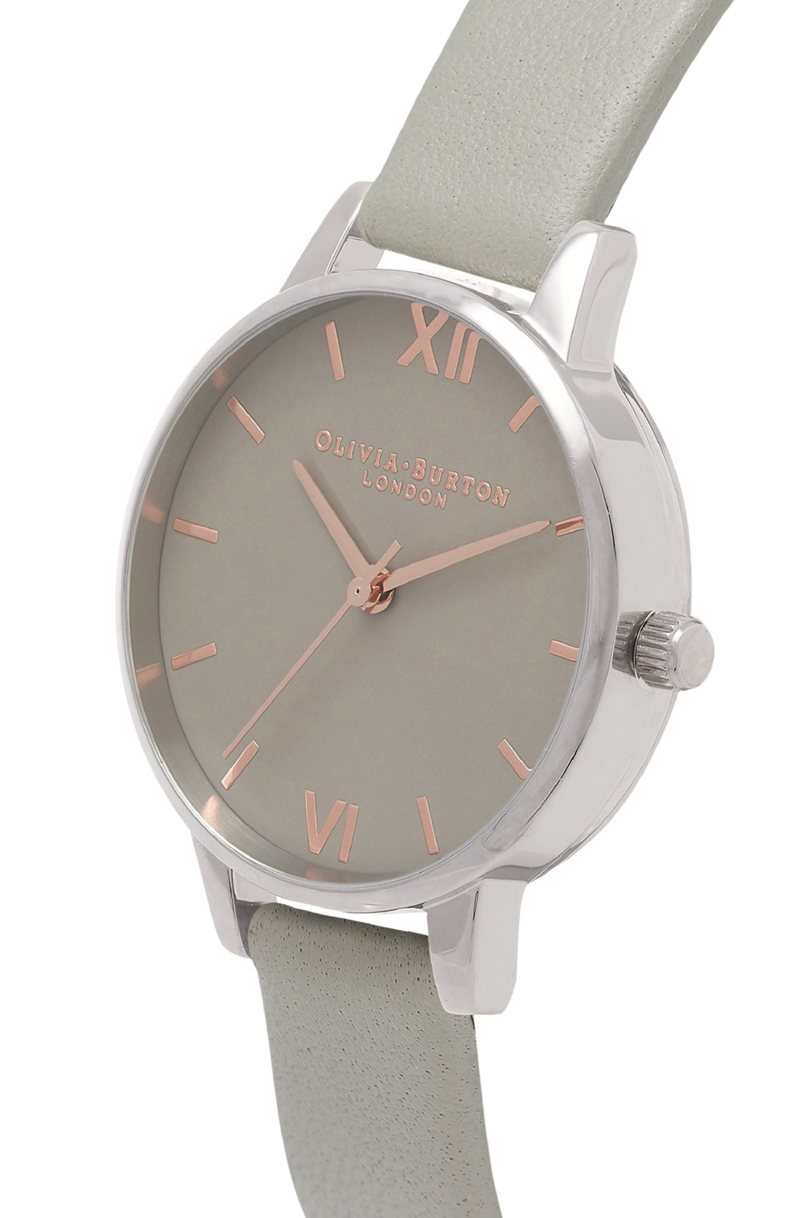 Midi Dial Leather Strap Watch, 30mm,                             Alternate thumbnail 3, color,                             Grey