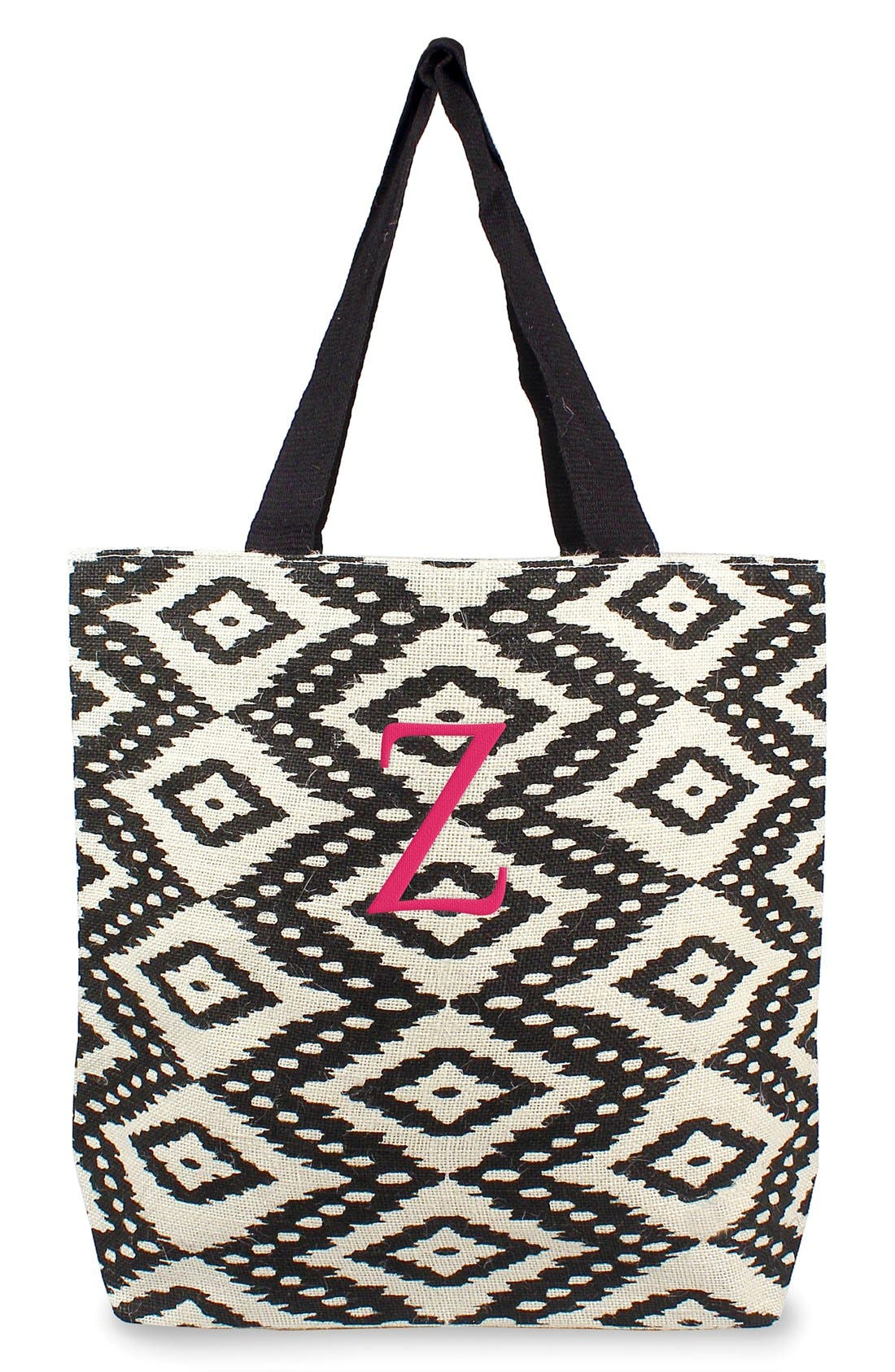 Personalized Ikat Jute Tote,                             Main thumbnail 1, color,                             Black - Z