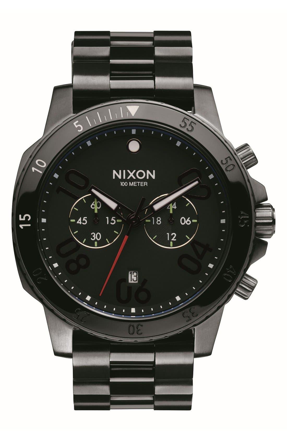'Ranger' Chronograph Bracelet Watch, 44mm,                         Main,                         color, Black/ Gunmetal
