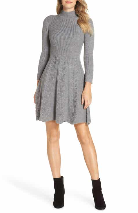 Eliza J Mock Neck Fit   Flare Sweater Dress (Regular   Petite) 46ddce31a