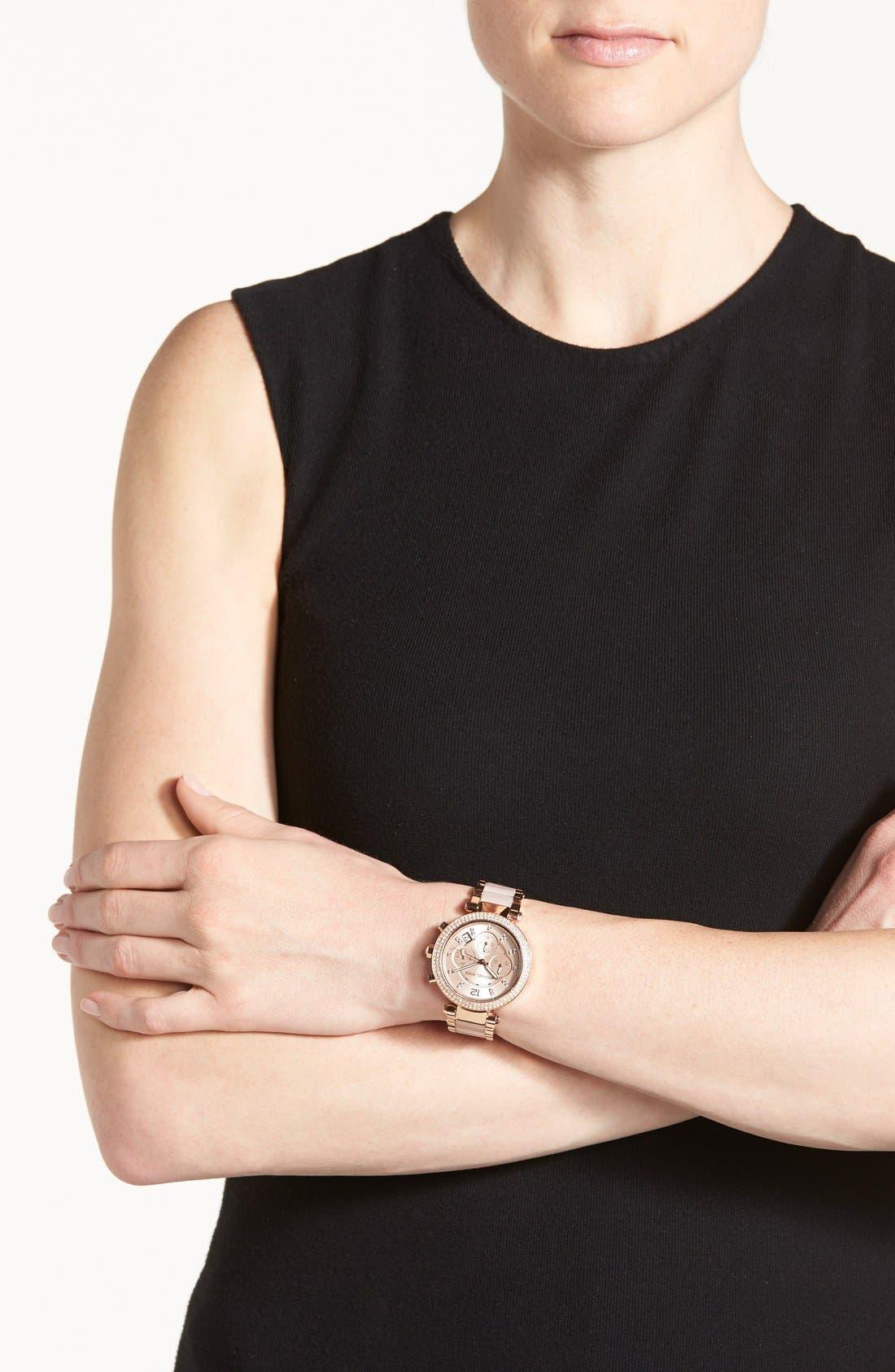 Alternate Image 5  - Michael Kors 'Parker' Blush Acetate Link Chronograph Watch, 39mm