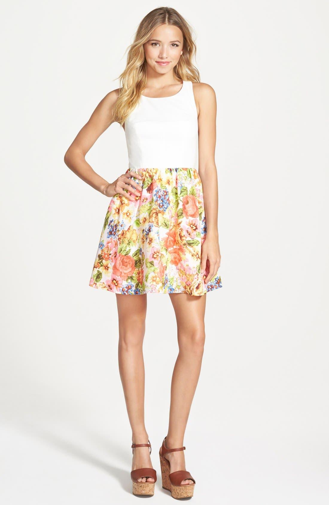 Floral Print Skater Dress,                         Main,                         color, Offwhtpnk