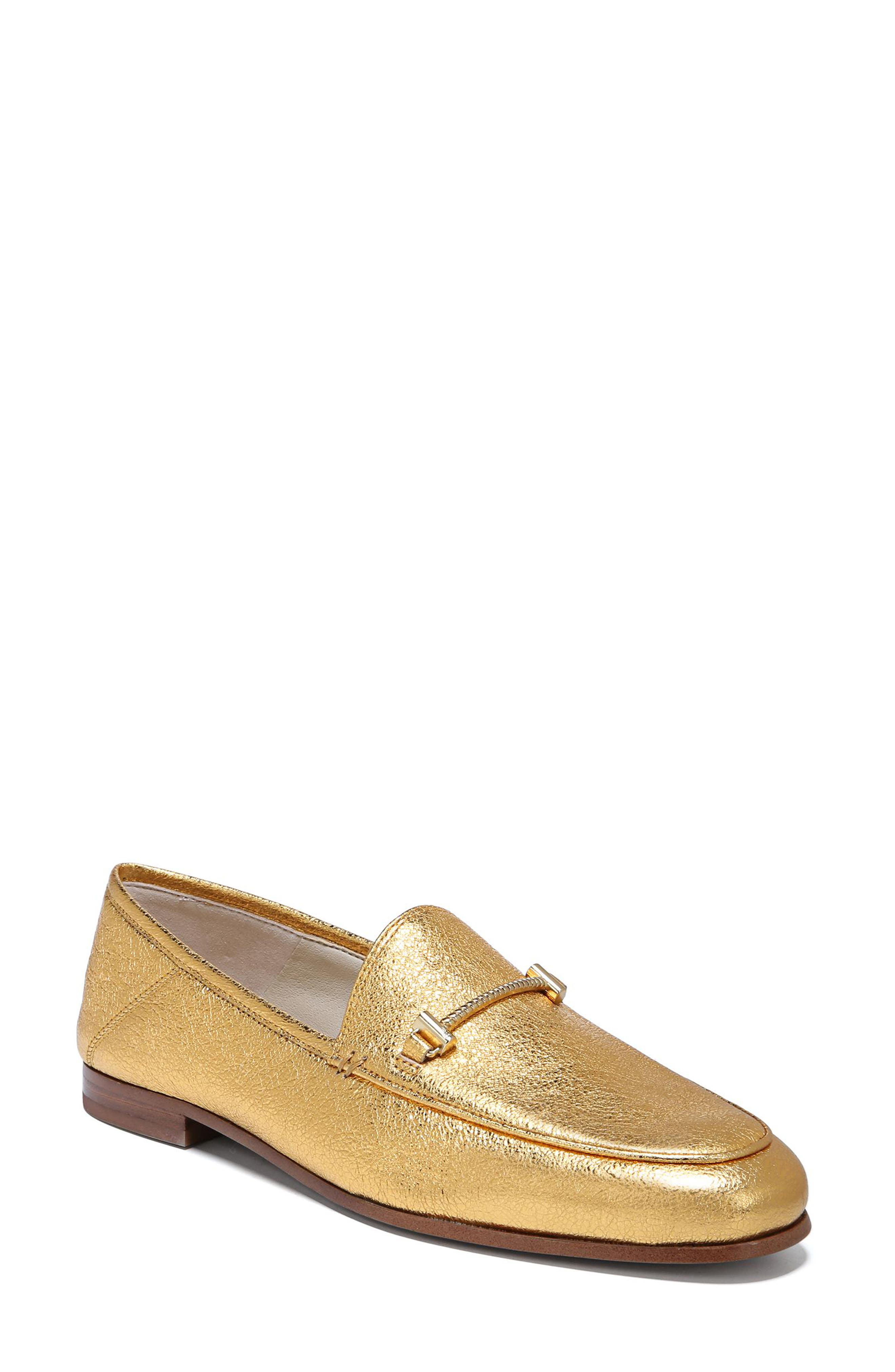 Lior Loafer,                             Main thumbnail 1, color,                             Exotic Gold Leather