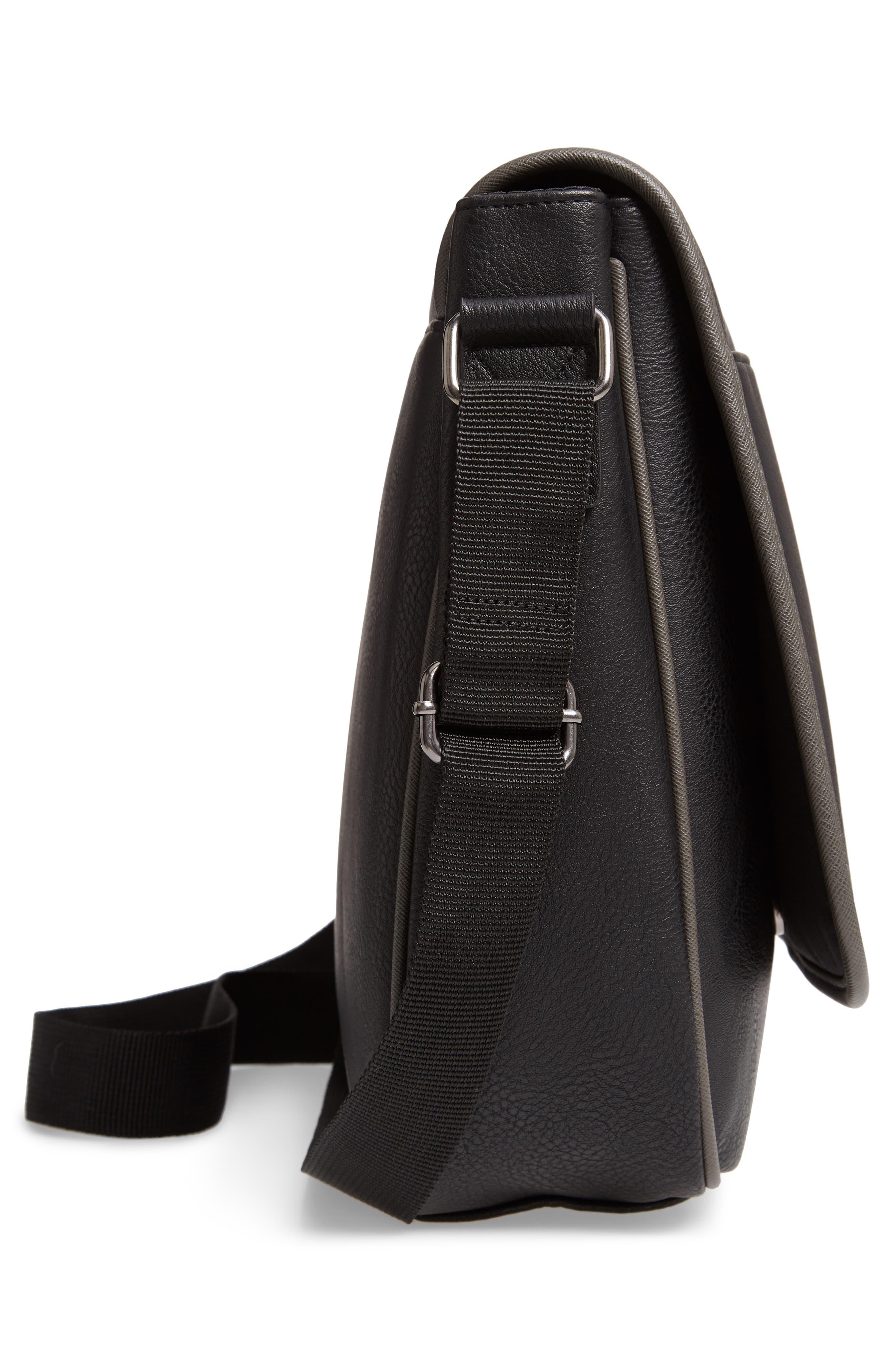 Kingcol Faux Leather Messenger Bag,                             Alternate thumbnail 4, color,                             Black