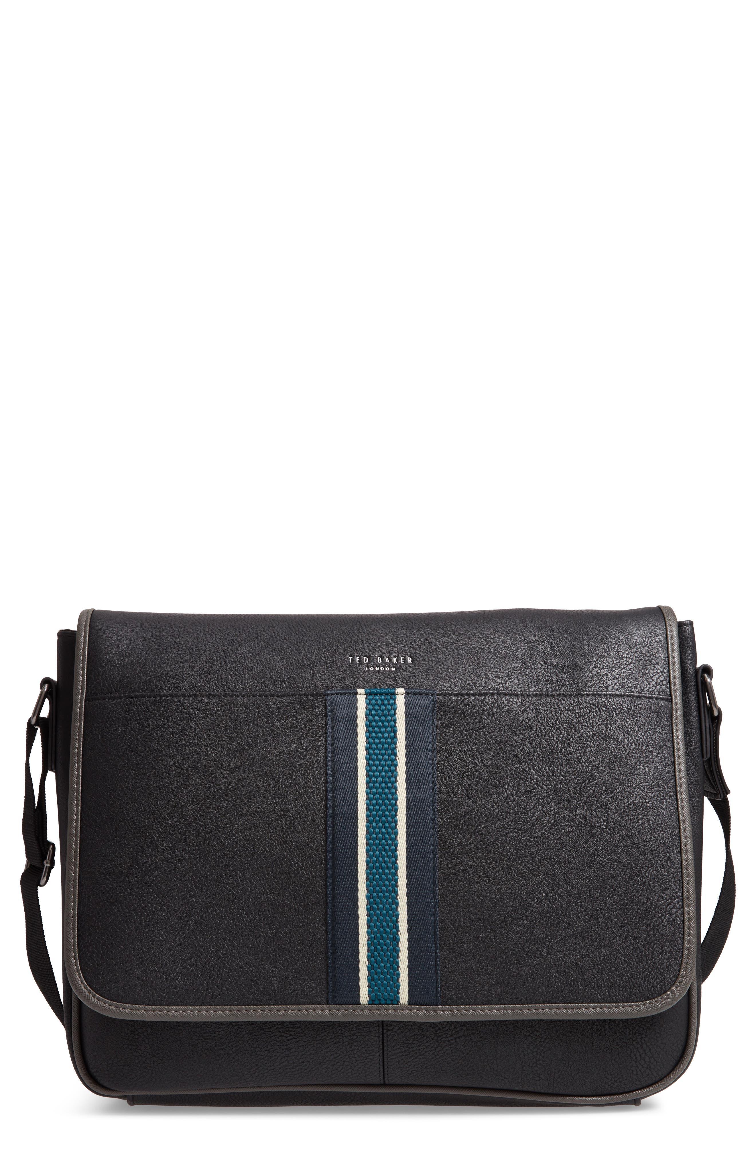 Kingcol Faux Leather Messenger Bag,                             Main thumbnail 1, color,                             Black