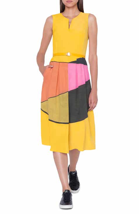 Akris Sunrise Print Belted Silk Dress