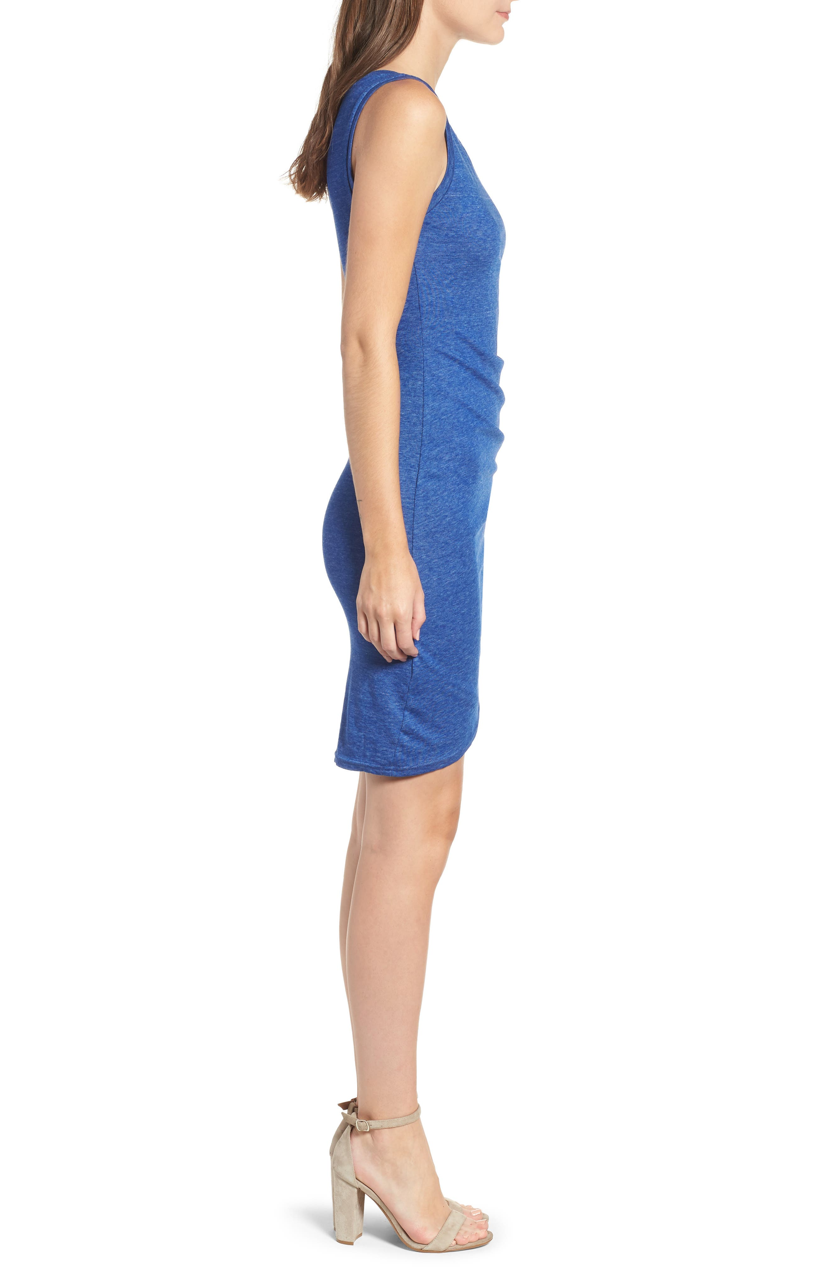 Ruched Body-Con Tank Dress,                             Alternate thumbnail 3, color,                             Blue Mazarine Hthr