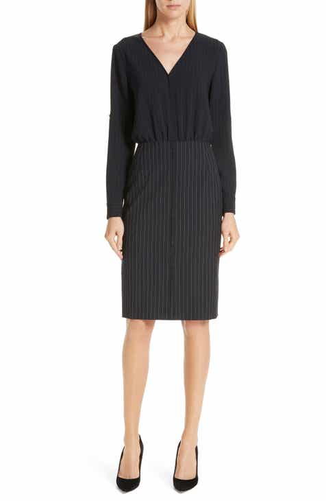 BOSS Dunka Pinstripe Mix Dress (Regular & Petite)