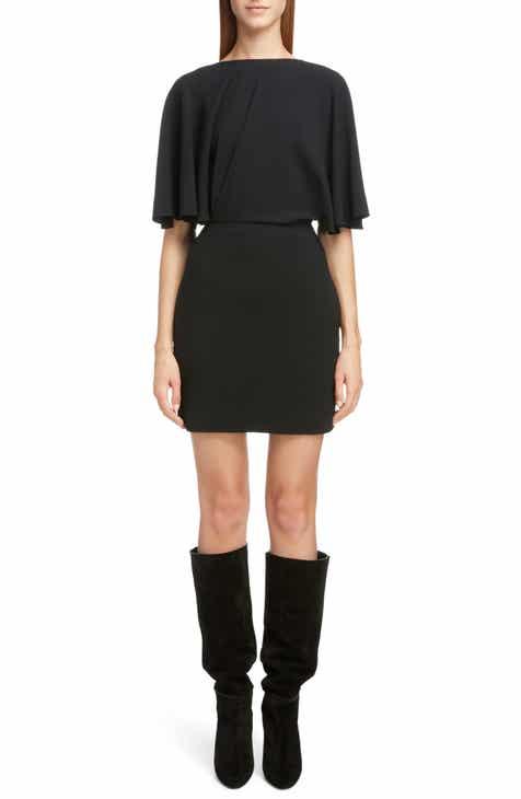 Saint Laurent Drape Sleeve Body-Con Minidress by SAINT LAURENT