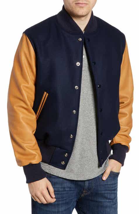 c19c50696f8b Golden Bear The Albany Mixed Media Varsity Jacket