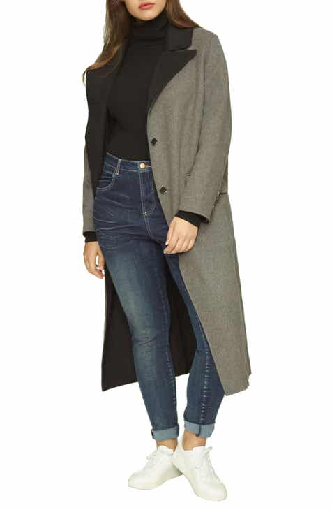 3b12c22ff21 Universal Standard Contrast Wide Lapel Wool Blend Coat (Regular   Plus Size)