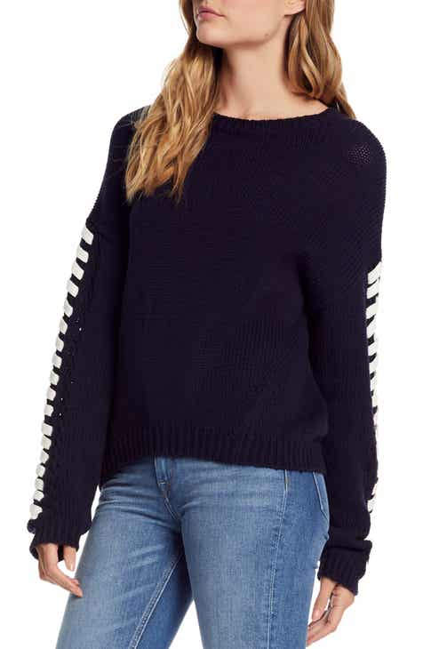 1529261505 Michael Stars Lace-Up Sleeve Sweater