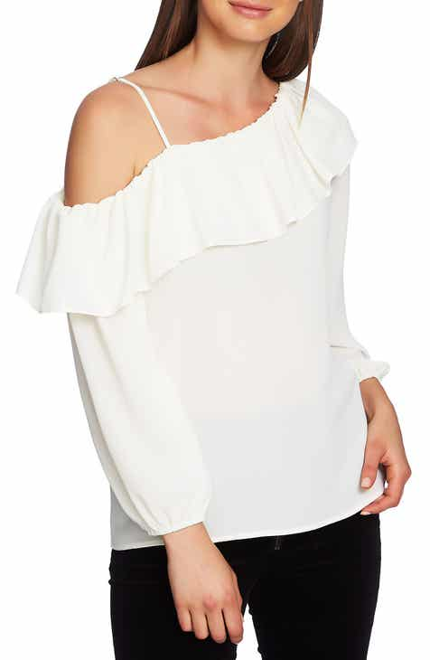 1.STATE One-Shoulder Ruffle Edge Blouse