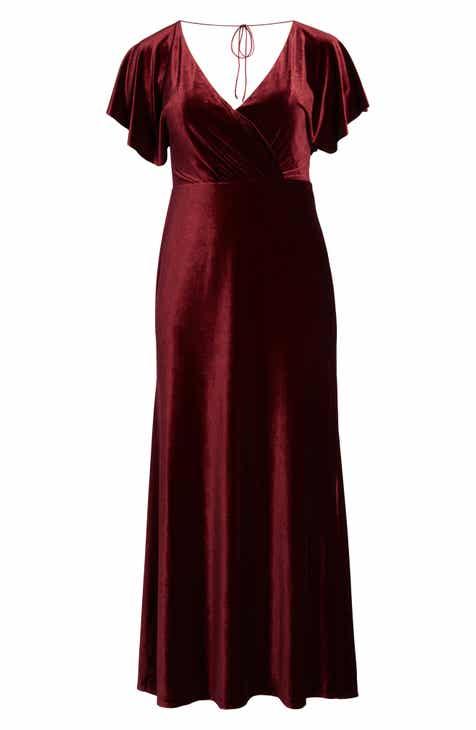 Jenny Yoo Ellis Flutter Sleeve Stretch Velvet Gown 8a683ab5b