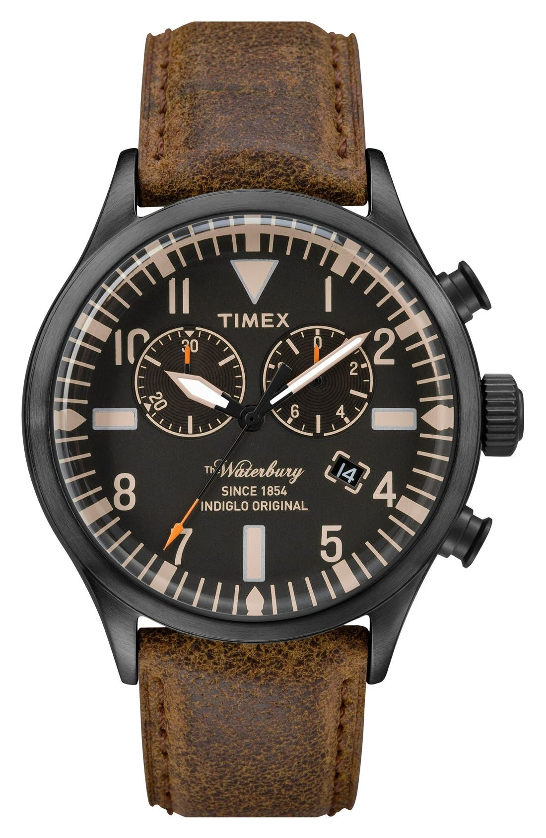 TIMEX<SUP>®</SUP> Waterbury Chronograph Leather Strap Watch, 42mm