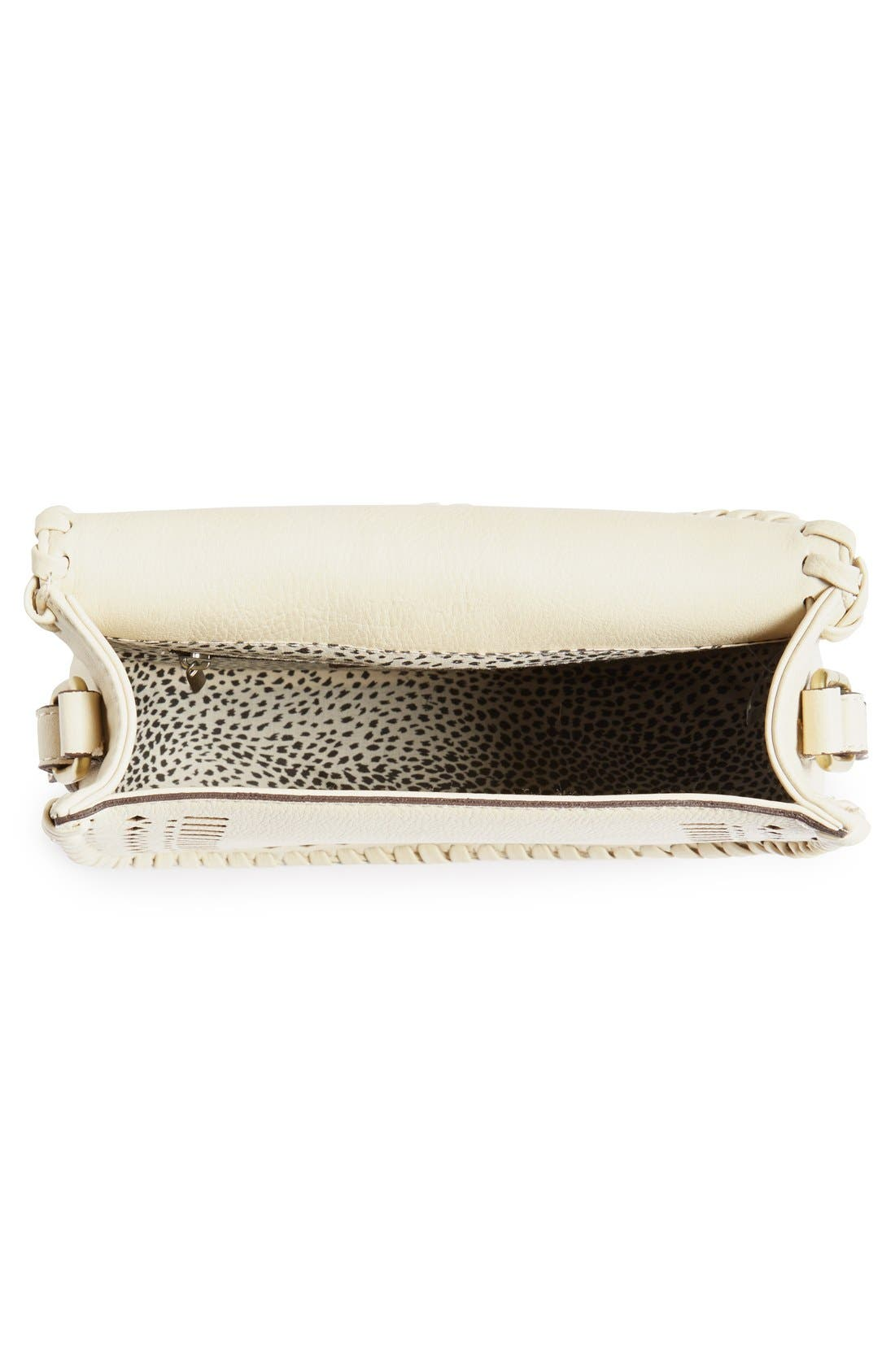 'Kianna' Perforated Faux Leather Crossbody Bag,                             Alternate thumbnail 3, color,                             Ivory