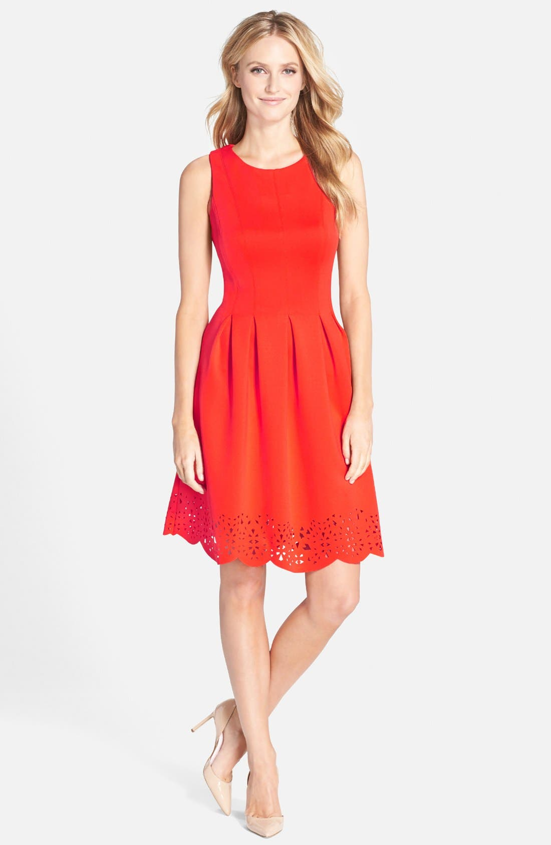 Main Image - Ivanka Trump Lasercut Scuba Fit & Flare Dress