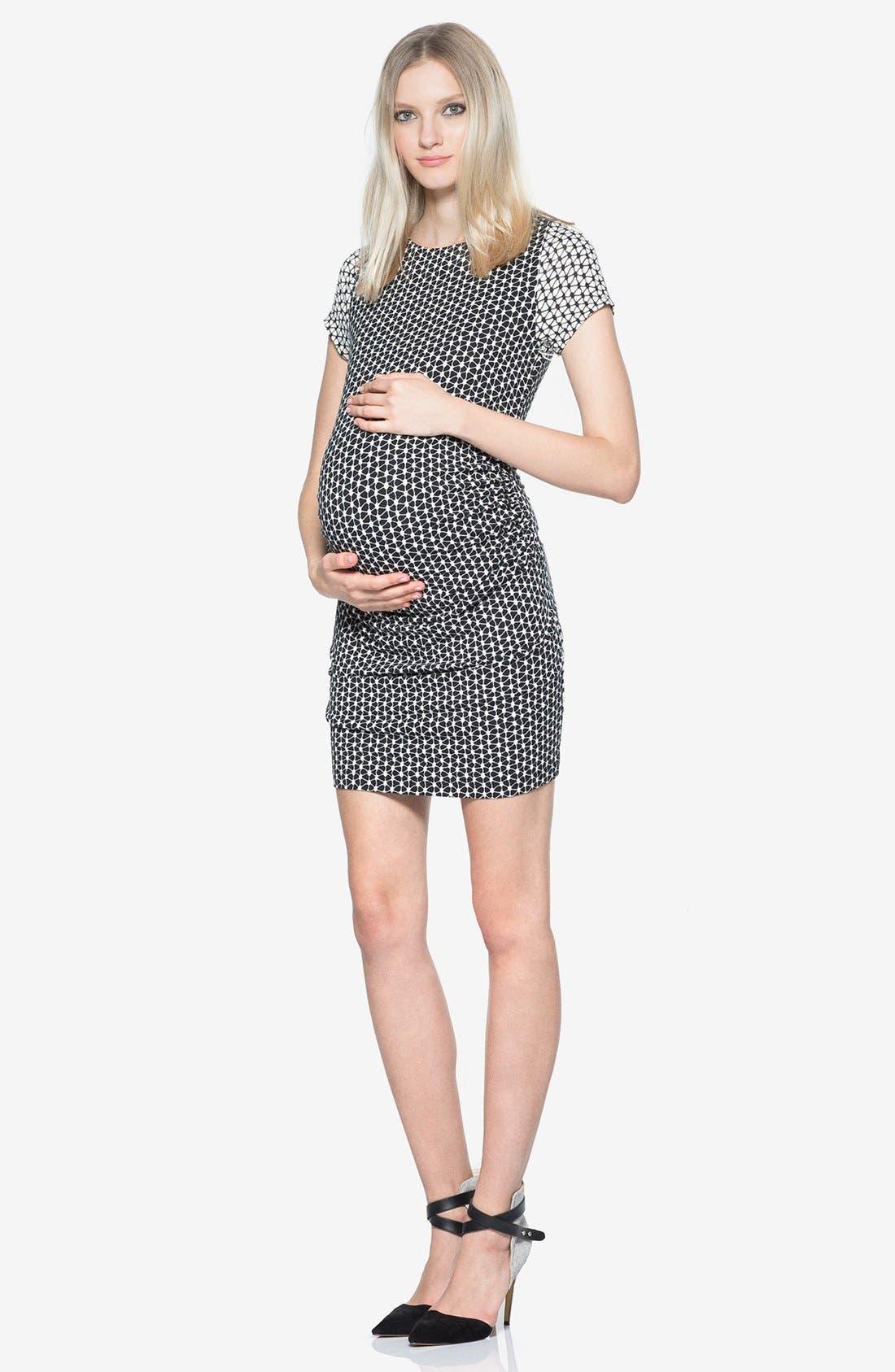 'Leilah' Body-Con Print Maternity Dress,                             Main thumbnail 1, color,                             Crochet Geo Twin