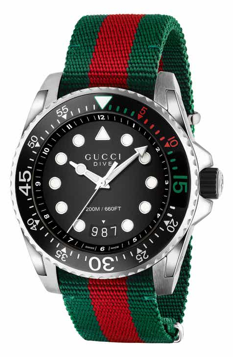 a0085302c79 Gucci Dive Nylon Strap Watch, 45mm