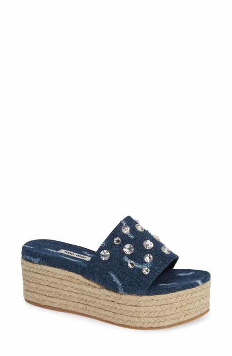 6a5bf8175a6 Miu Miu Crystal Embellished Platform Slide Sandal (Women)