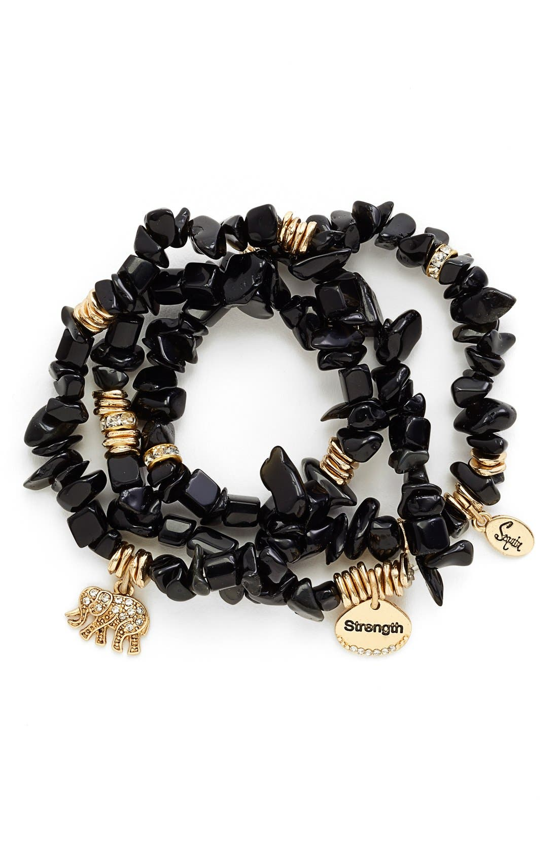 Main Image - Sequin Stone Stretch Bracelets (Set of 3)