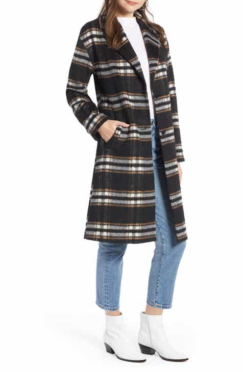 0c9a5dc40a632 Something Navy Longline Plaid Coat (Nordstrom Exclusive)