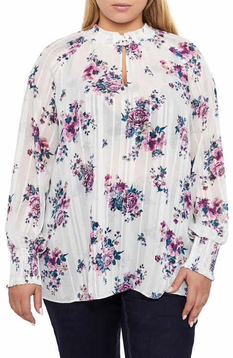 b8948b538e1 Addition Elle Love and Legend Floral Print Raglan Sleeve Blouse (Plus Size)