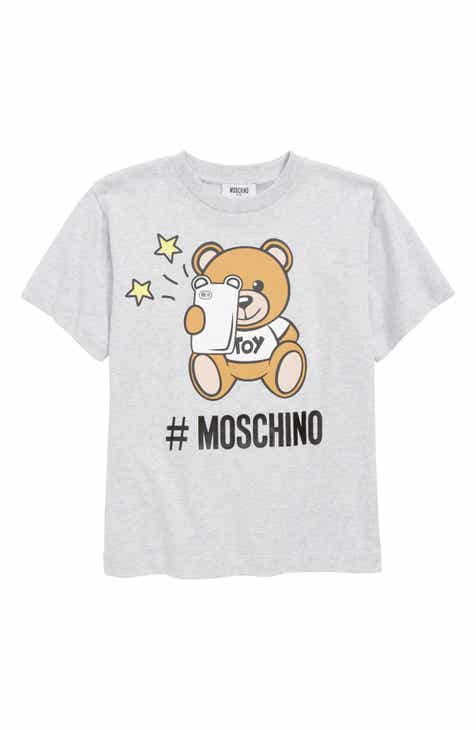Moschino Logo Teddy Bear & Phone Screenprint Tee (Little Girls & Big Girls)