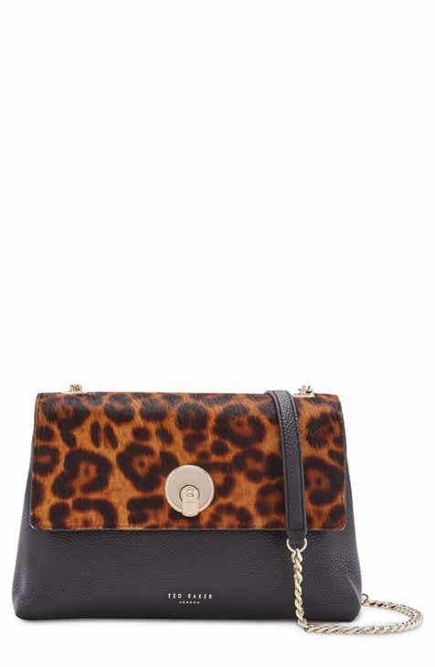 Ted Baker London Leopard Print Genuine Calf Hair Leather Crossbody Bag