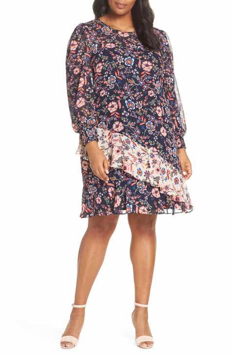 be3d613930e Eliza J Floral Print Contrast Ruffle Detail Dress (Plus Size)