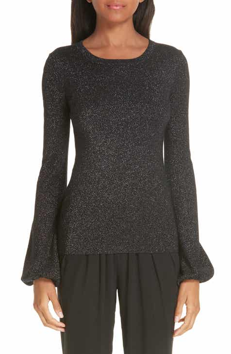 Michael Kors Peasant Sleeve Metallic Merino Wool Blend Sweater by MICHAEL KORS