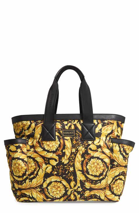 871cd9831f Versace Logo Print Nylon   Leather Diaper Bag