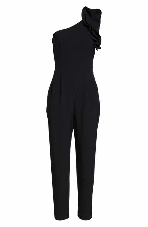 25e99a3884db Eliza J One-Shoulder Ruffle Jumpsuit (Regular   Petite)
