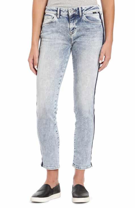 a11b9f2aade39 Mavi Jeans Ada Side Stripe Ankle Boyfriend Jeans (Light Indigo Stripe)
