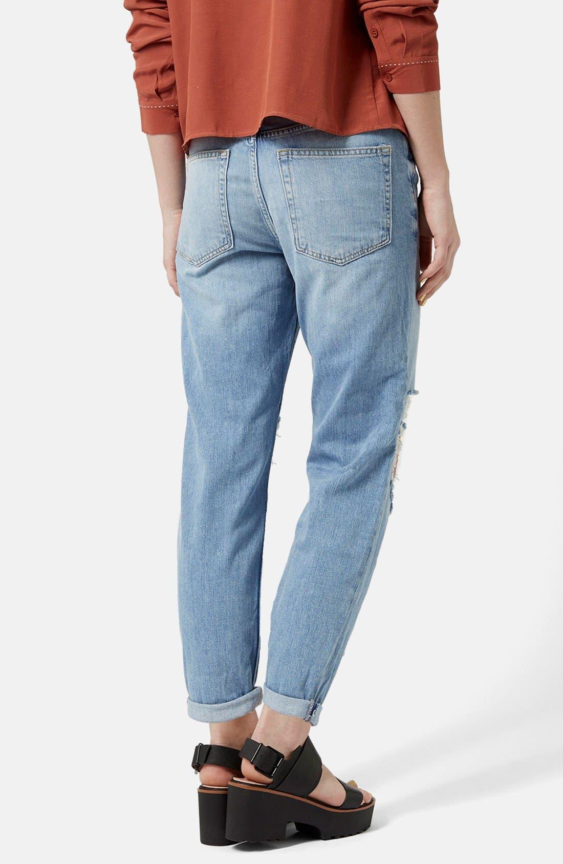 Alternate Image 3  - Topshop Moto 'Hayden' Ripped Boyfriend Jeans (Light Denim) (Regular & Petite)
