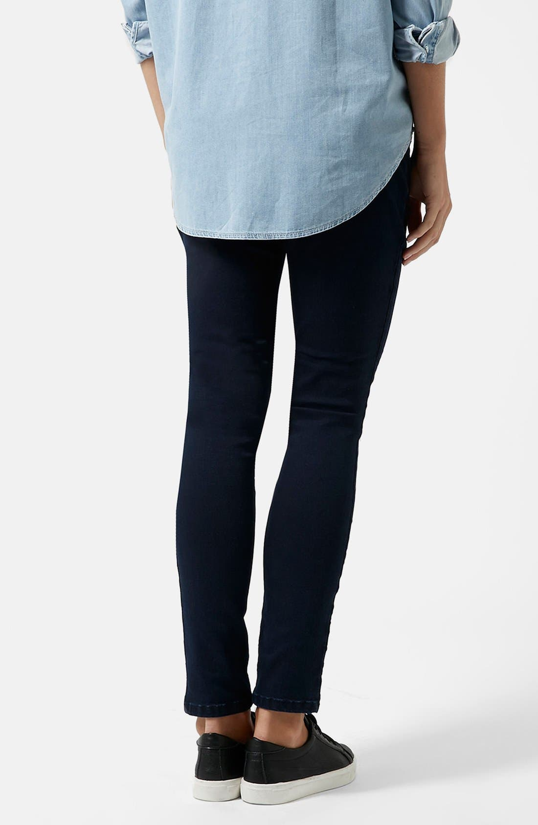 Alternate Image 2  - Topshop Moto 'Joni' Maternity Skinny Jeans (Navy) (Regular & Short)