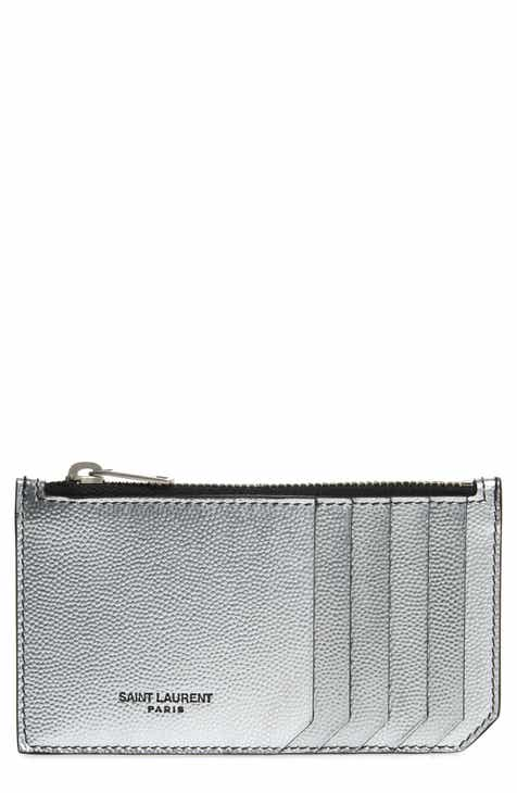 Saint Laurent Zipped Fragments Metallic Leather Zip Card Case a812dc9973
