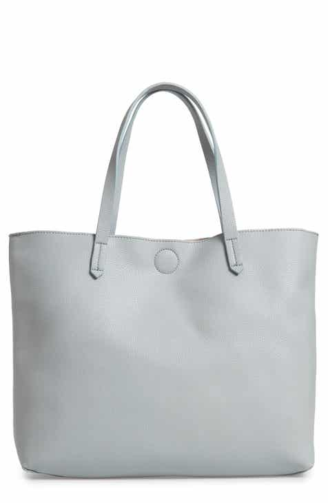 Contrast Lining Faux Leather Tote