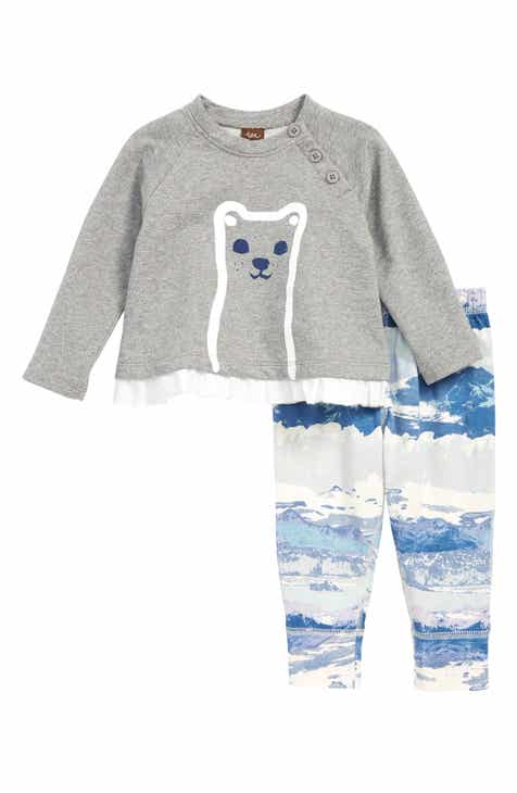 Tea Collection Furry Friend Graphic Top & Print Pants Set (Baby)