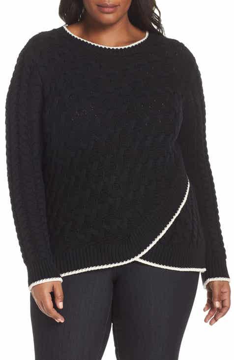 5048cb0ec69 CeCe Contrast Trim Cable Sweater (Plus Size)