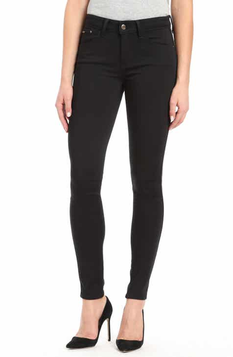 3c07ebd6dcc Mavi Adriana Side Stripe Skinny Ankle Jeans (Black Shiny Stripe)