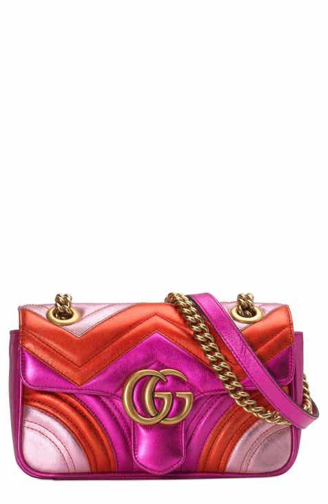 bd97457b699 Gucci Mini Marmont 2.0 Metallic Leather Shoulder Bag