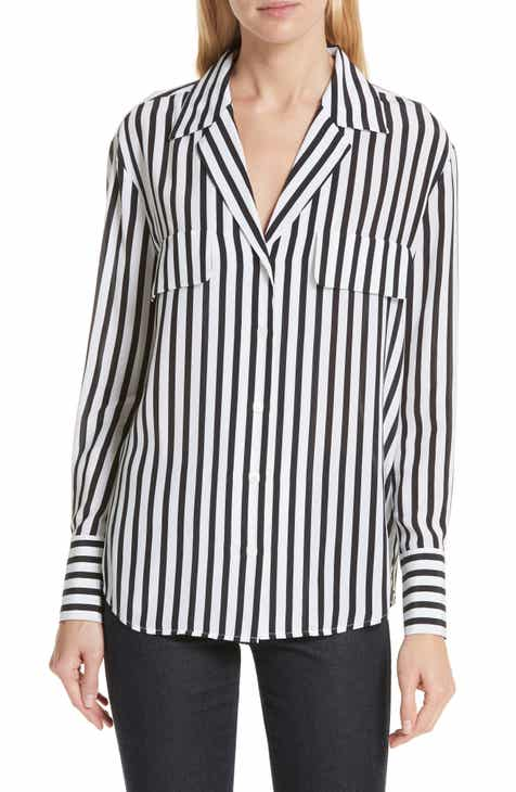 ac44ee1c6 FRAME Stripe Flap Pocket Silk Blouse