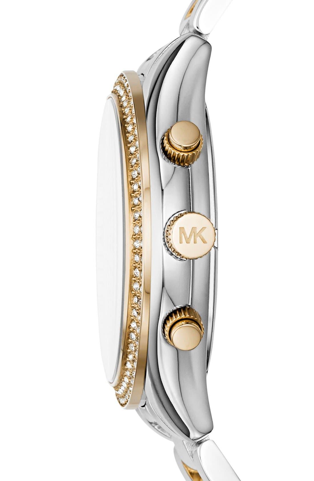 Alternate Image 3  - Michael Kors 'Slim Runway' Crystal Bezel Chronograph Bracelet Watch, 42mm (Nordstrom Exclusive)