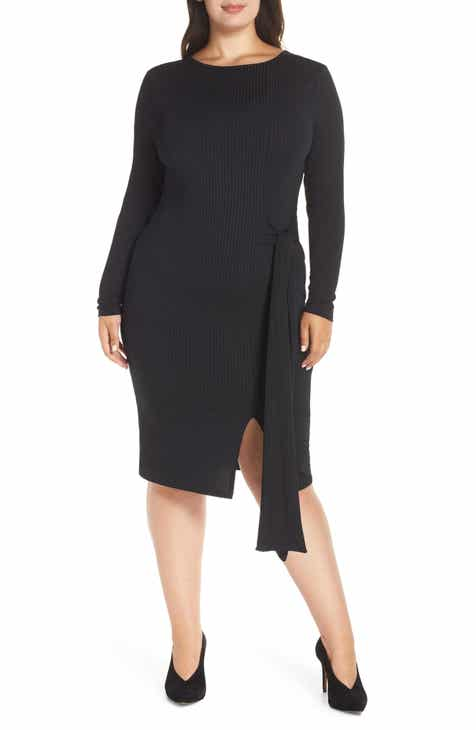 LOST INK Ribbed Tie Body-Con Dress (Plus Size)